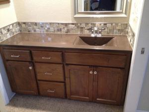 Brown Concrete Bathroom Countertop